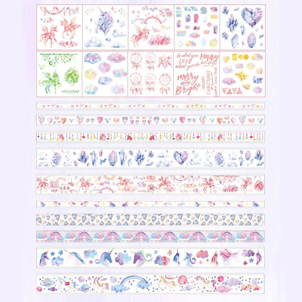 可重複撕黏紙膠帶-獨角獸 (10卷膠帶+10張貼紙)