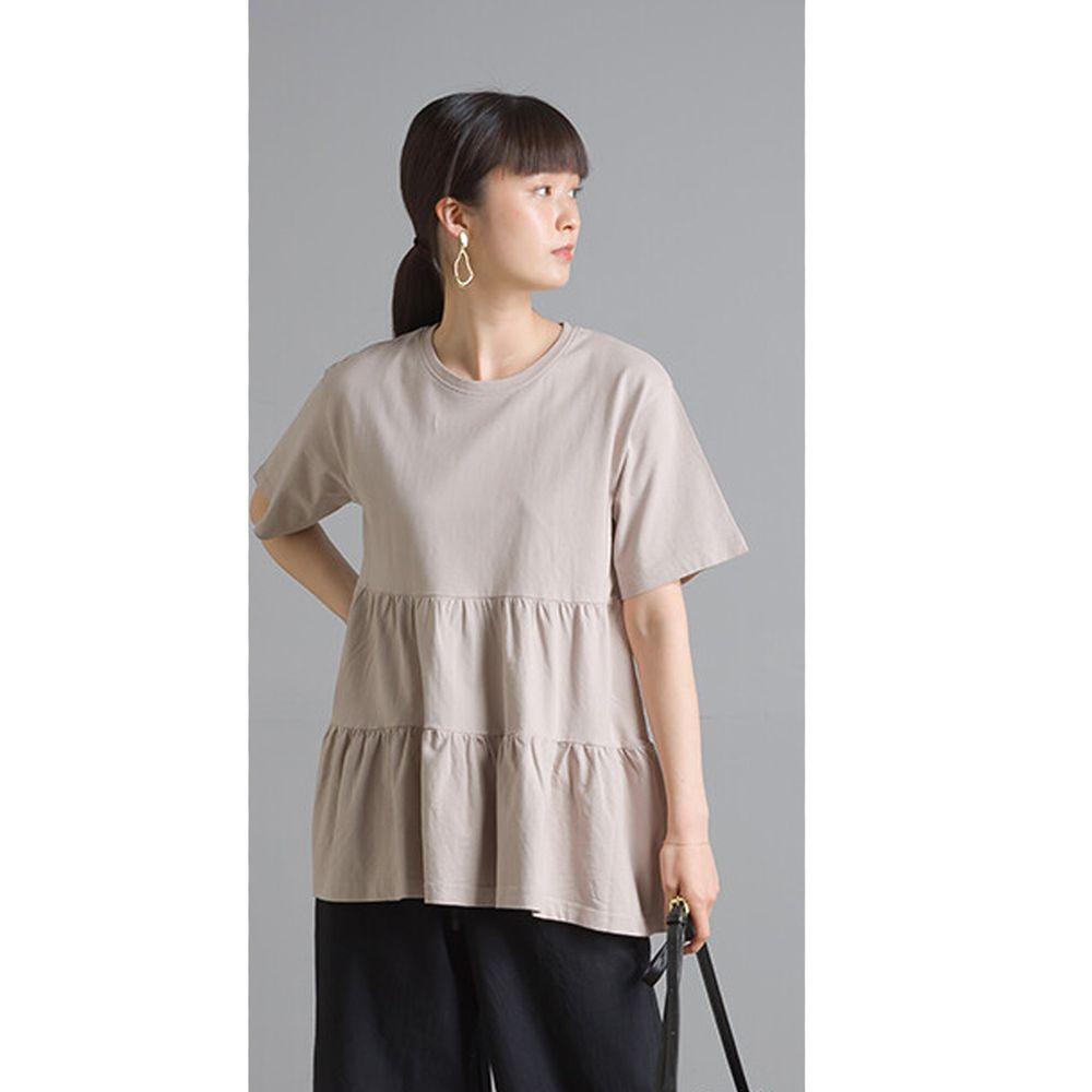 日本 OMNES - 蛋糕純棉短袖上衣-粉杏 (Free size)