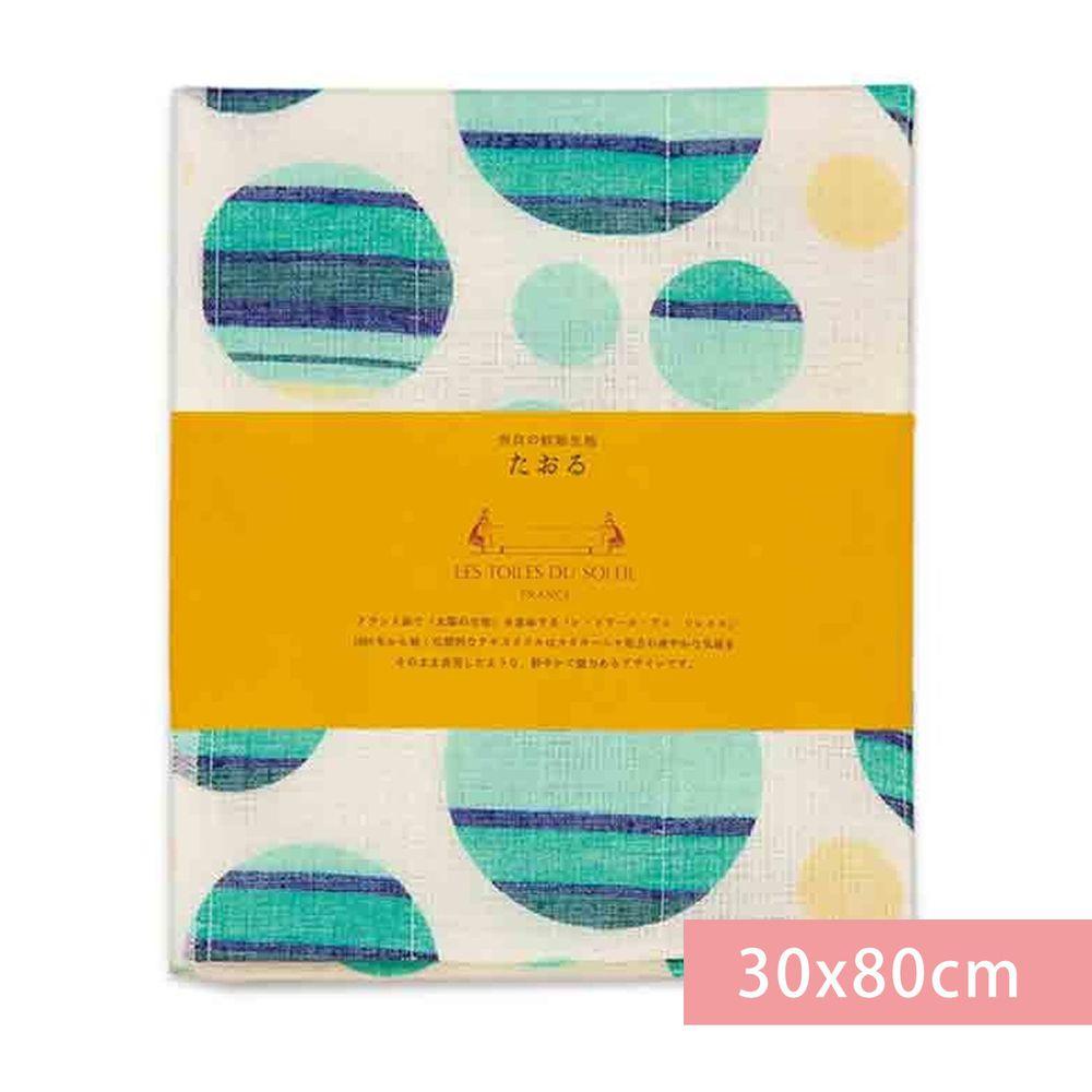 日本代購 - 【和布華】日本製奈良五重紗 長毛巾-撞色圓點-藍綠 (30x80cm)