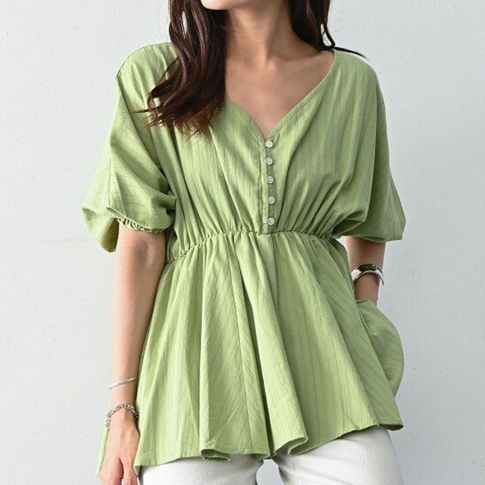 日本 ELENCARE DUE - 純棉 浪漫V領縮腰五分袖上衣-綠