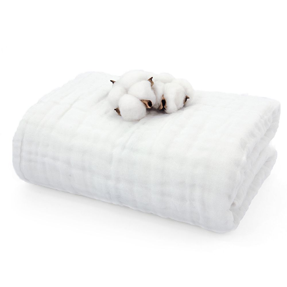 L'ange - 棉之境 6層純棉紗布浴巾/蓋毯-白 (70x120cm)