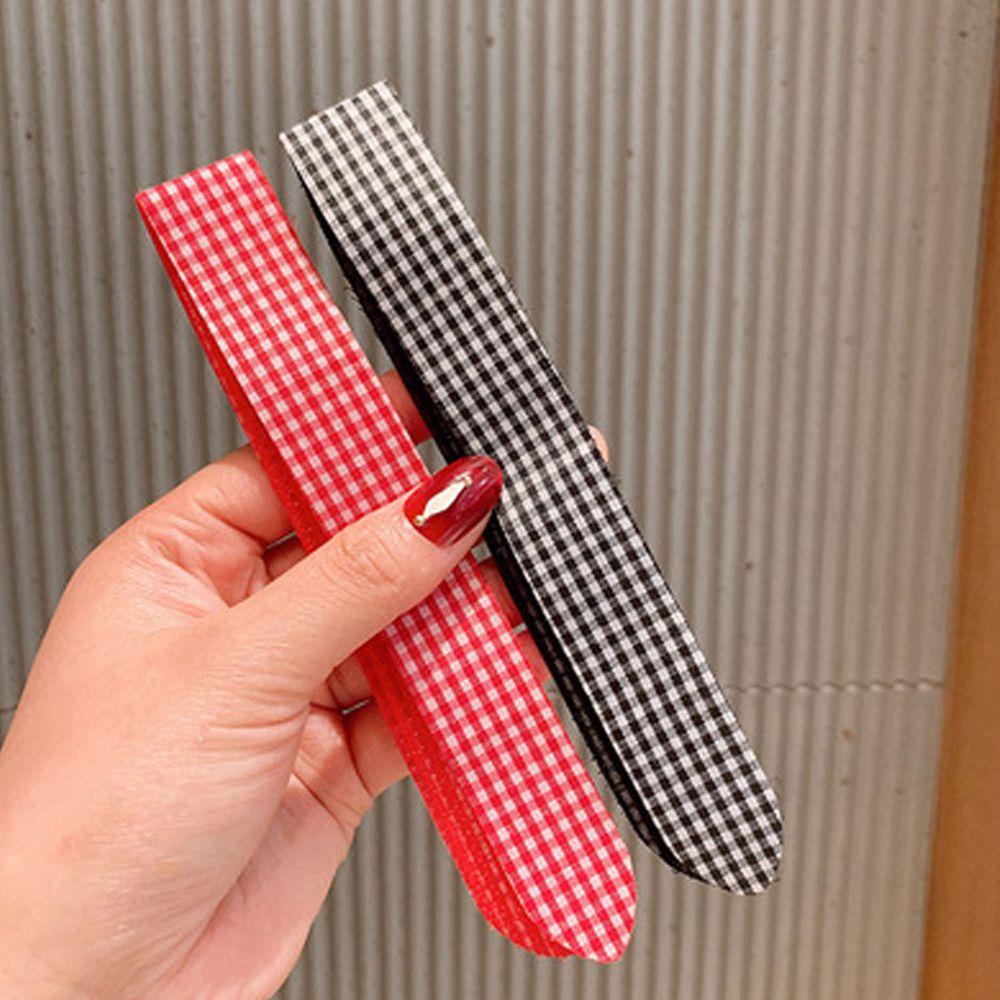 小清新魔術貼無痕髮箍-紅色+黑色格紋 (一組2入)