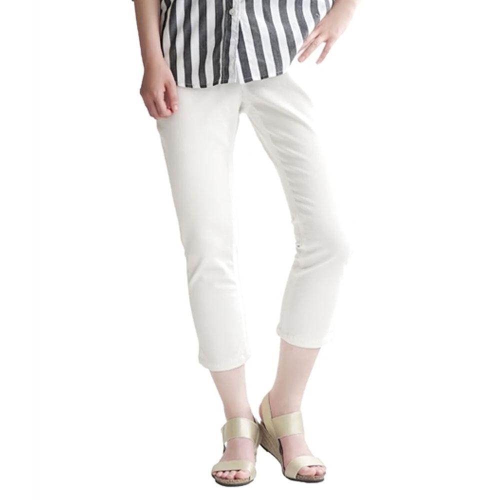 日本 zootie - Air Pants 輕薄彈性修身七分褲-丹寧白