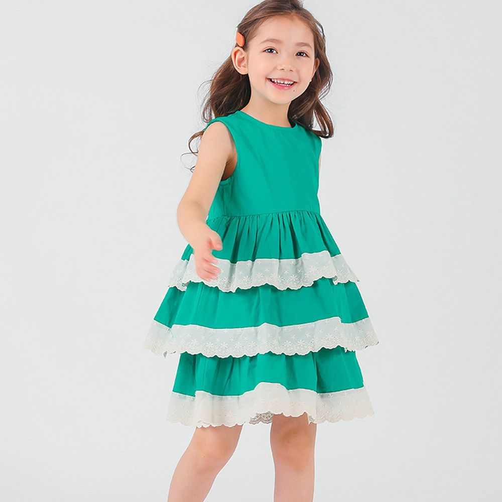 韓國 OZKIZ - 蕾絲拼接蛋糕裙