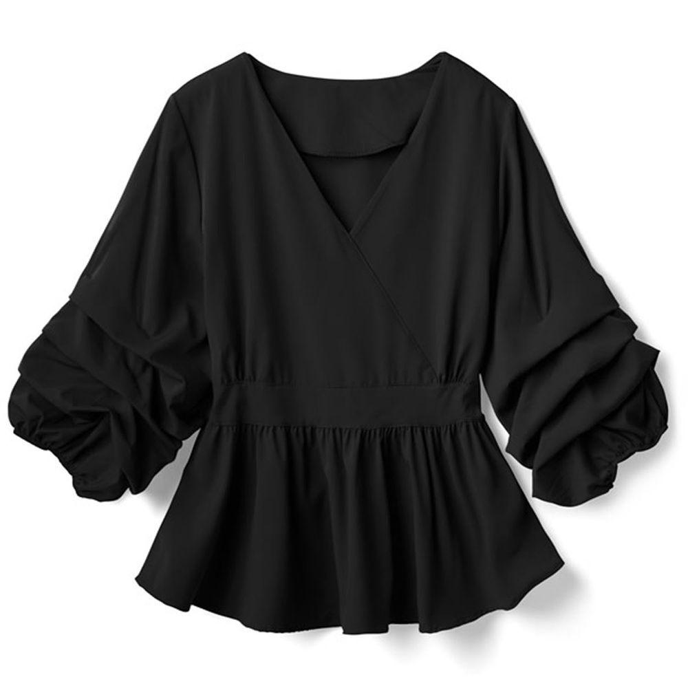 日本 GRL - V領層次感袖口七分袖上衣-黑