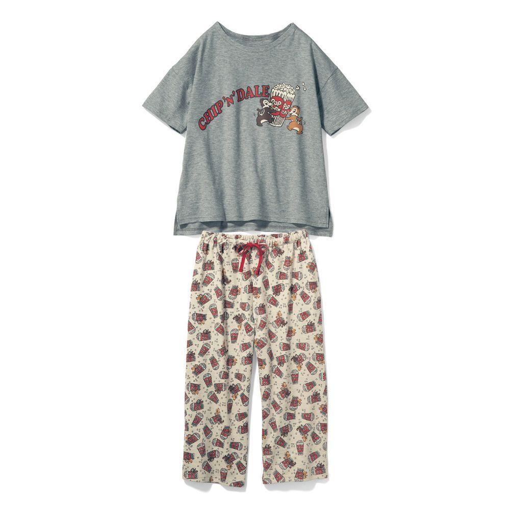 日本千趣會 - 迪士尼純棉印花短袖家居服(媽媽)-奇奇蒂蒂爆米花-灰