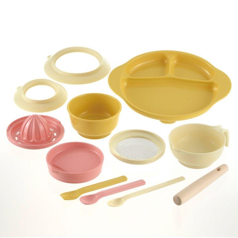 日本 Richell 利其爾 - 豪華食物調理餐具12件組-12件組-米/黃