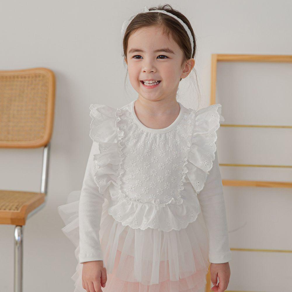韓國 mari an u - 荷葉滾邊浮雕花朵網紗拼接上衣-象牙白