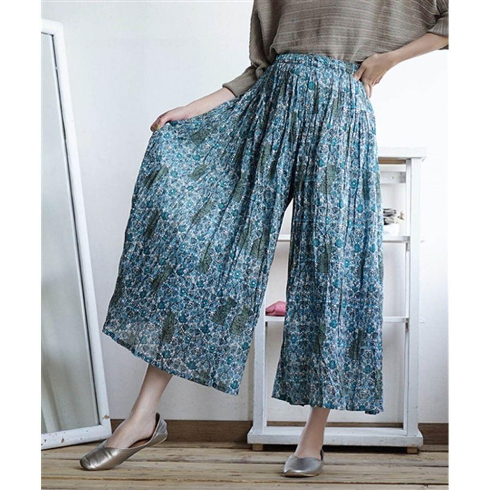 日本 zootie - 純棉舒適涼感寬褲-花與貓-藍 (Free)