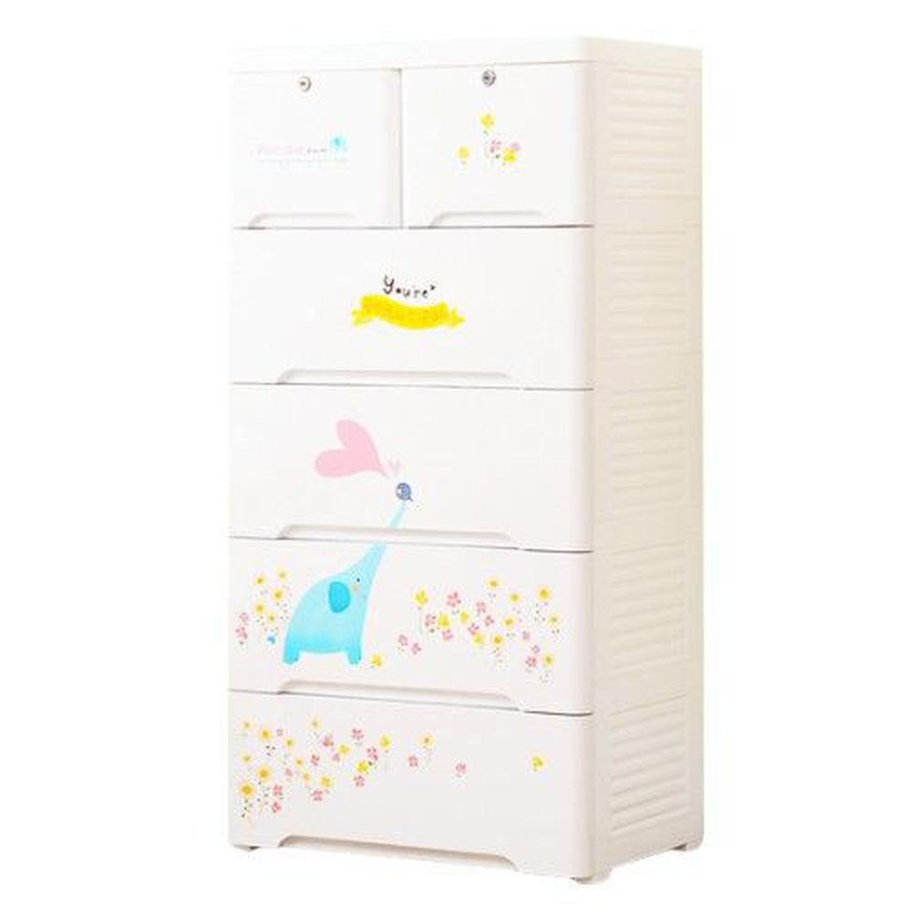 家窩 - 新晴五層附鎖抽屜收納櫃-DIY組裝-精靈童話-單層30L*5層