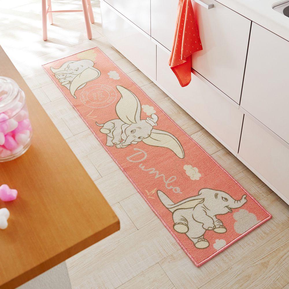 日本千趣會 - 迪士尼 長條型腳踏墊(廚房/臥室)-小飛象-粉