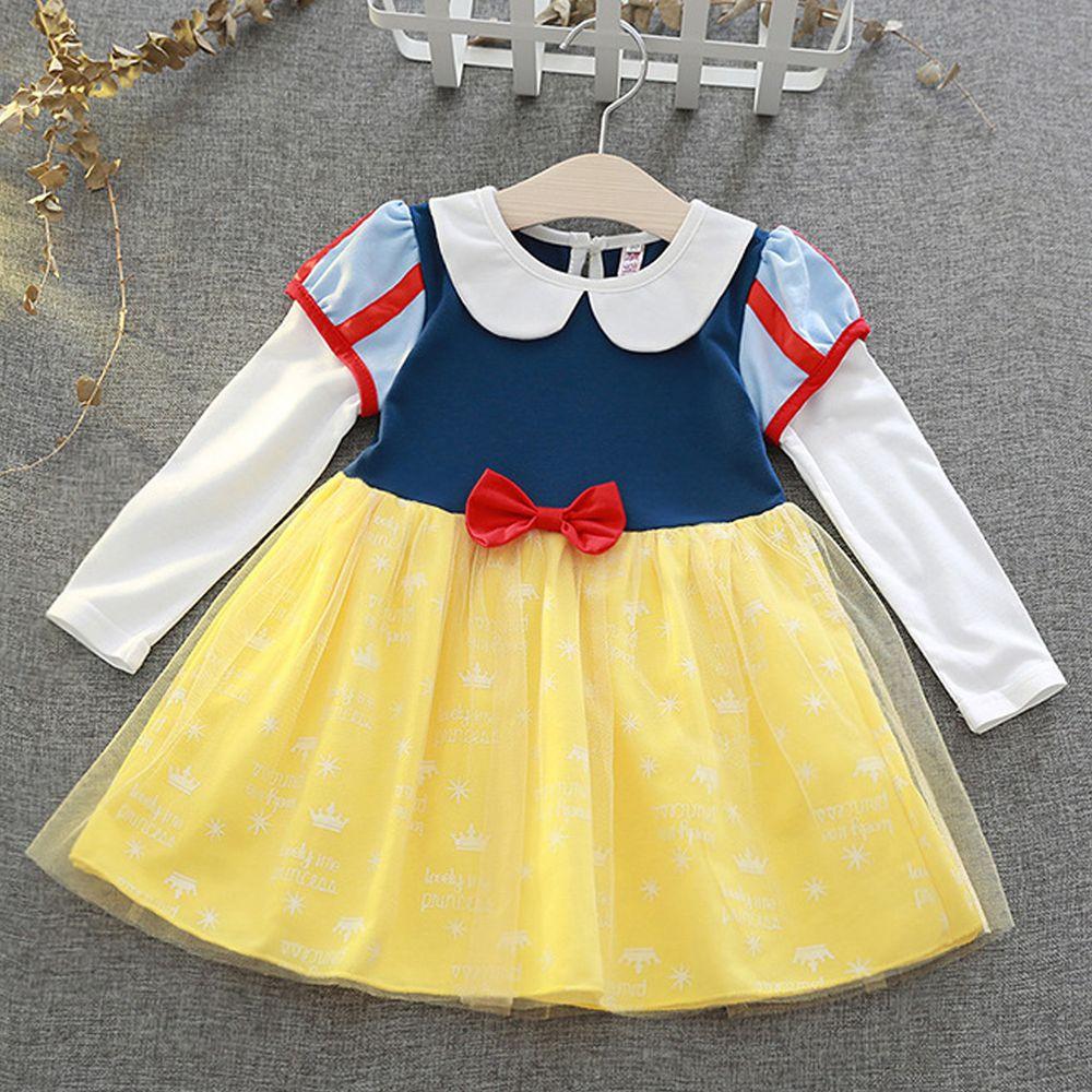 長袖造型公主裙-童話黃