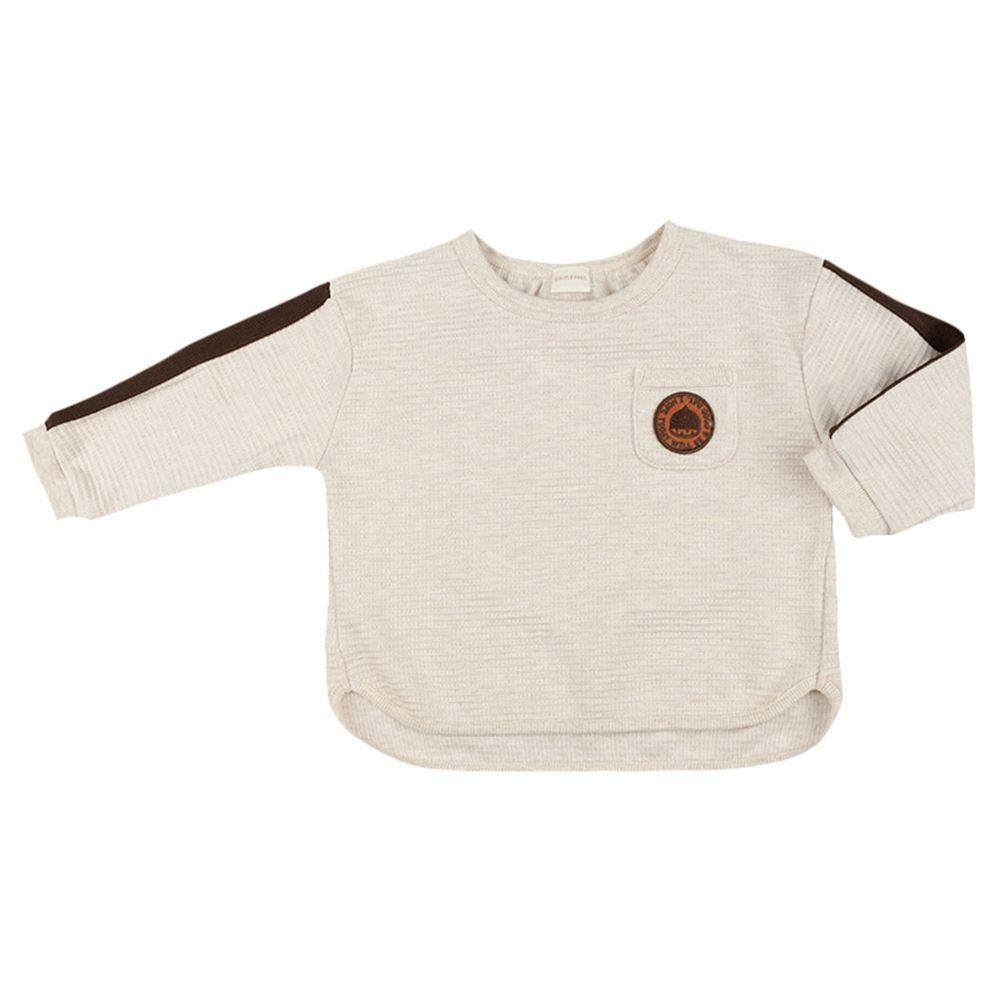 akachan honpo - 長袖口袋T恤-華夫格材質-象牙白色
