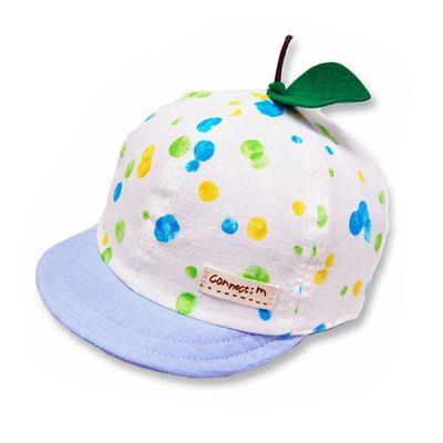 日本製粉嫩點點幼童帽(附彈性帽帶)-小葉子-藍