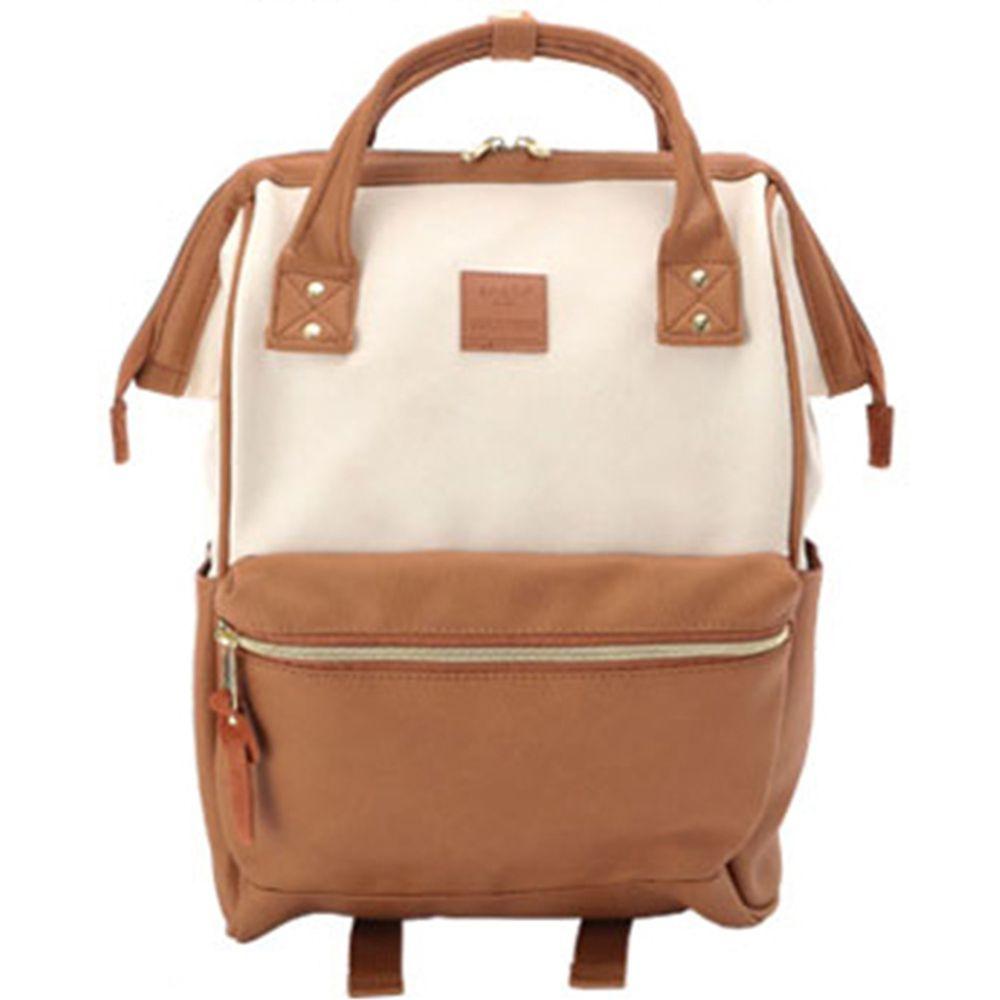 日本 Anello - 日本大開口皮革後背包-mini小尺寸-IC米駝撞色
