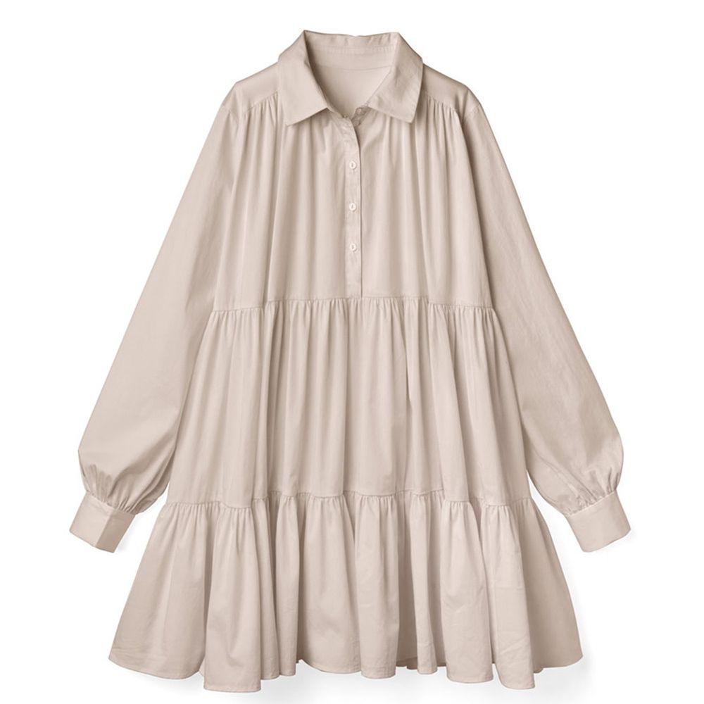 日本 GRL - 甜美慵懶傘狀襯衫洋裝-杏