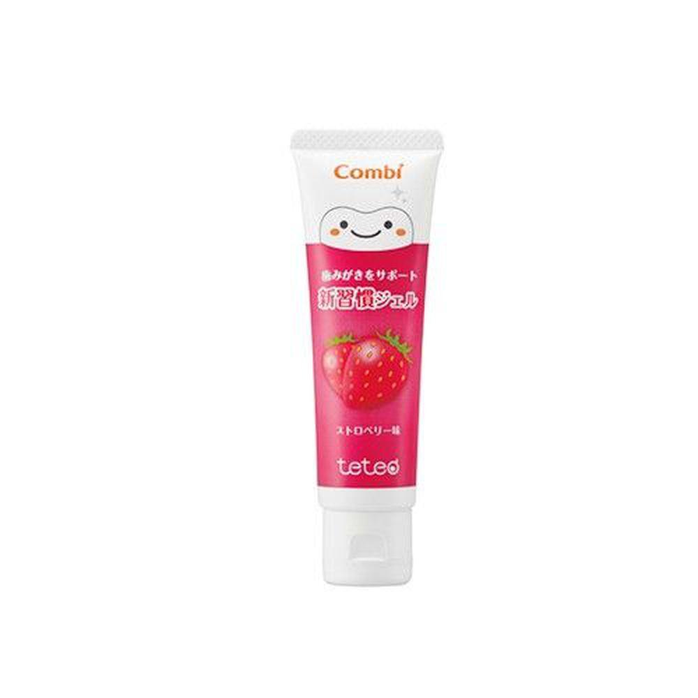 日本 Combi - teteo 幼童含氟牙膏-草莓 (6顆牙(約9個月)以上適用)