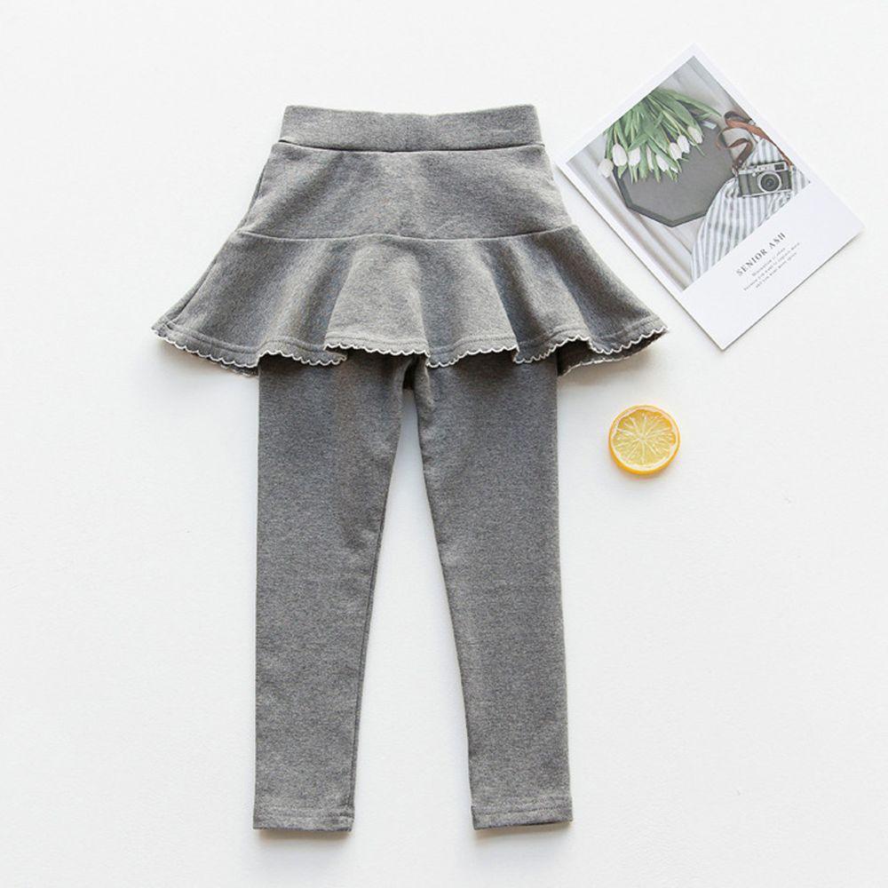 FANMOU - 內搭褲裙-花邊裙擺-灰色
