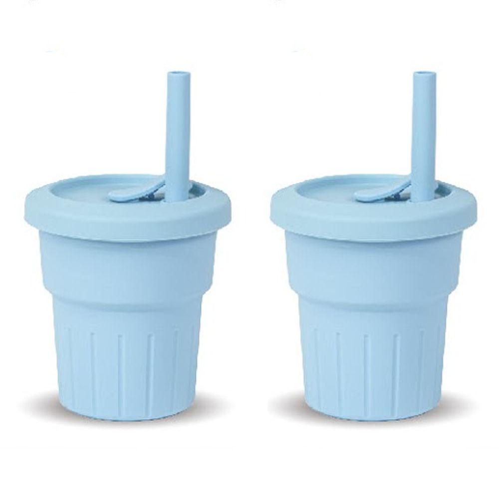 KOM - 台灣製矽膠環保隨行小巧杯兩入組-天空藍 (330ml)