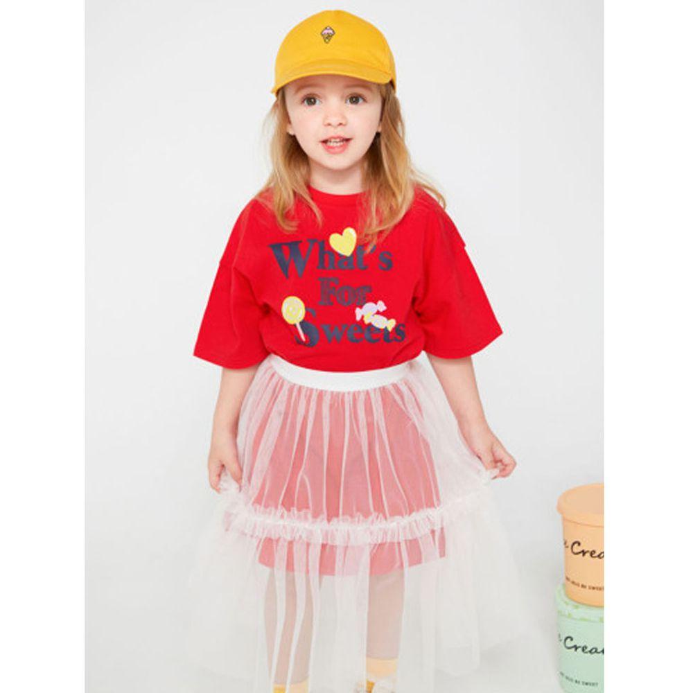 韓國 Jelispoon - 假兩件甜心紗裙洋裝-紅