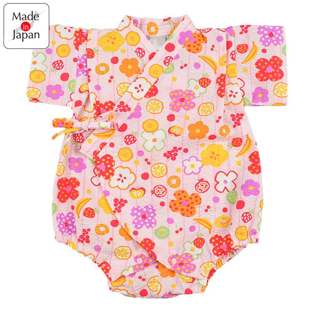 akachan honpo - 水波紋甚平包屁衣-水果-粉紅色