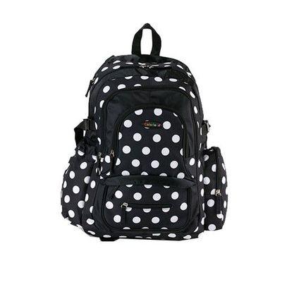 『經典款』加大升級版後背媽媽包-黑色圓點-三件組(掛車扣+濕物袋+隔尿墊)