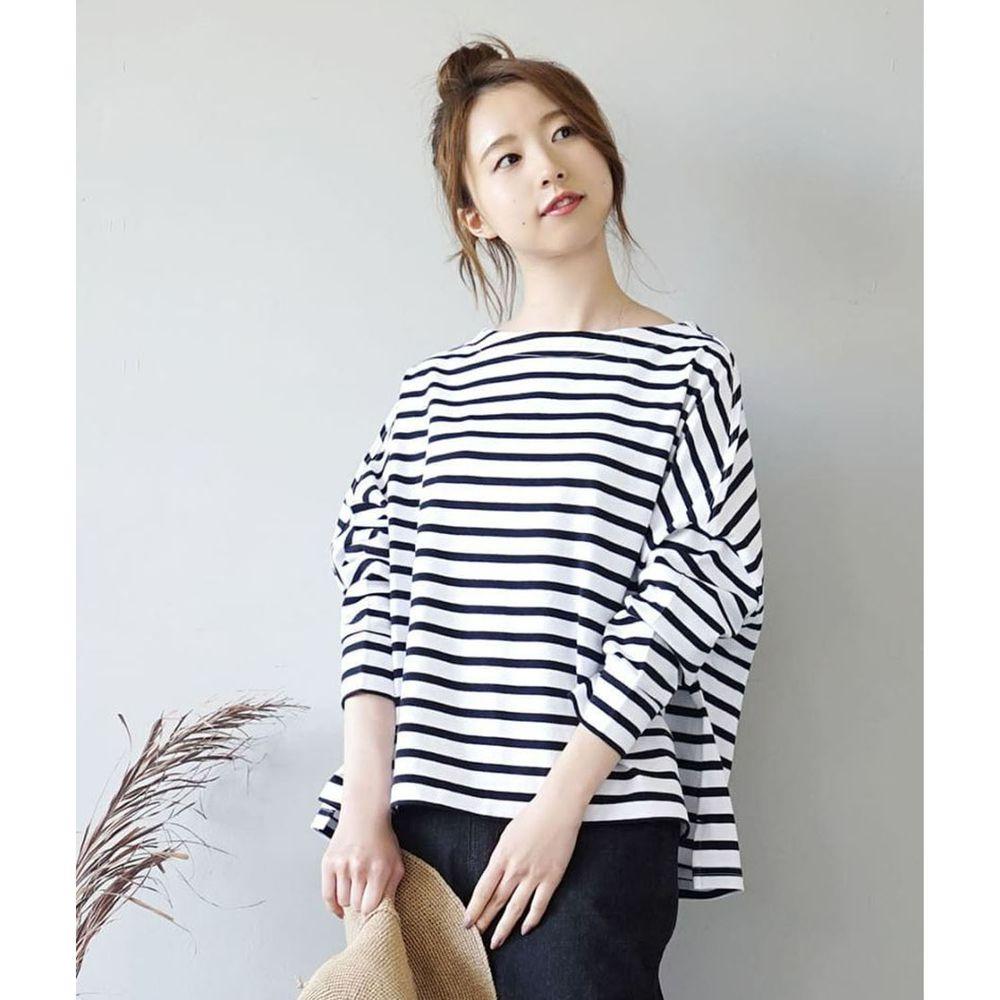 日本 zootie - [撥水/撥油加工] 抗油污耐洗純棉長袖上衣-條紋-黑白