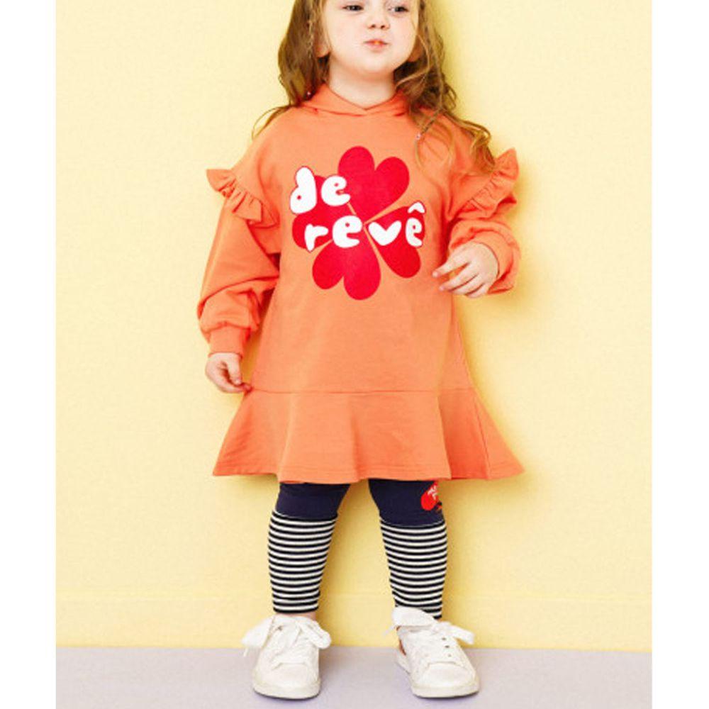 韓國 HEJMINI - 荷葉裝飾袖幸運草魚尾洋裝-橘