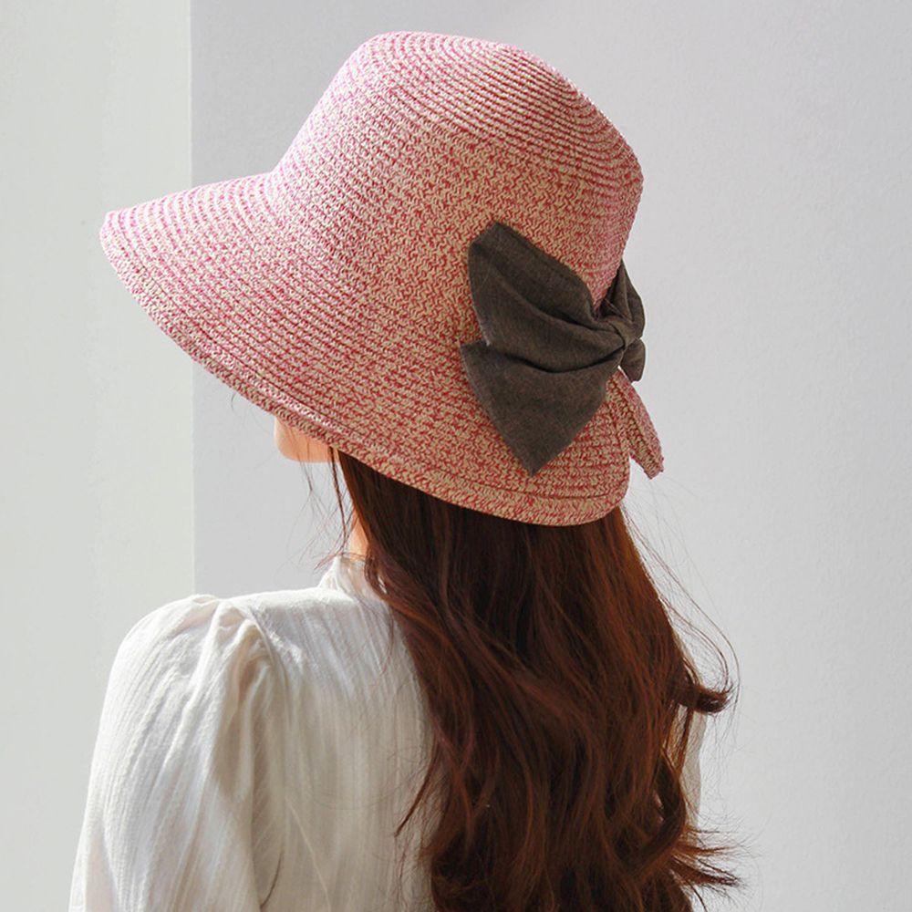 成人百搭漁夫蝴蝶結遮陽草帽-雙色粉紅 (58-60cm)