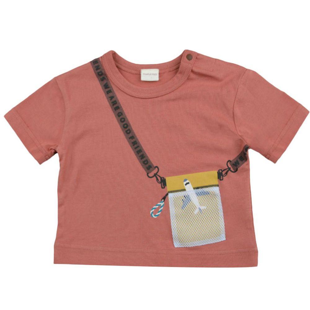 akachan honpo - 短袖趣味T恤-酒紅色