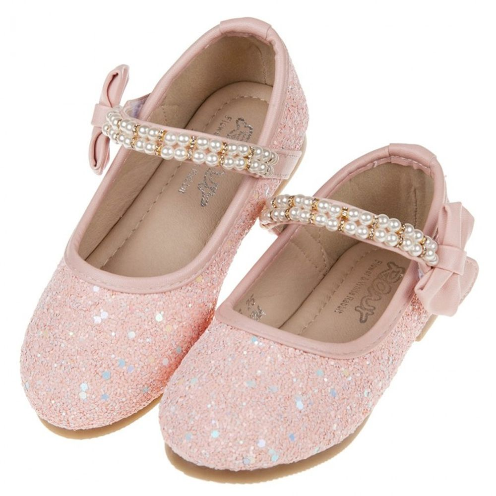 珍珠鍊帶玫粉亮片粉色兒童公主鞋