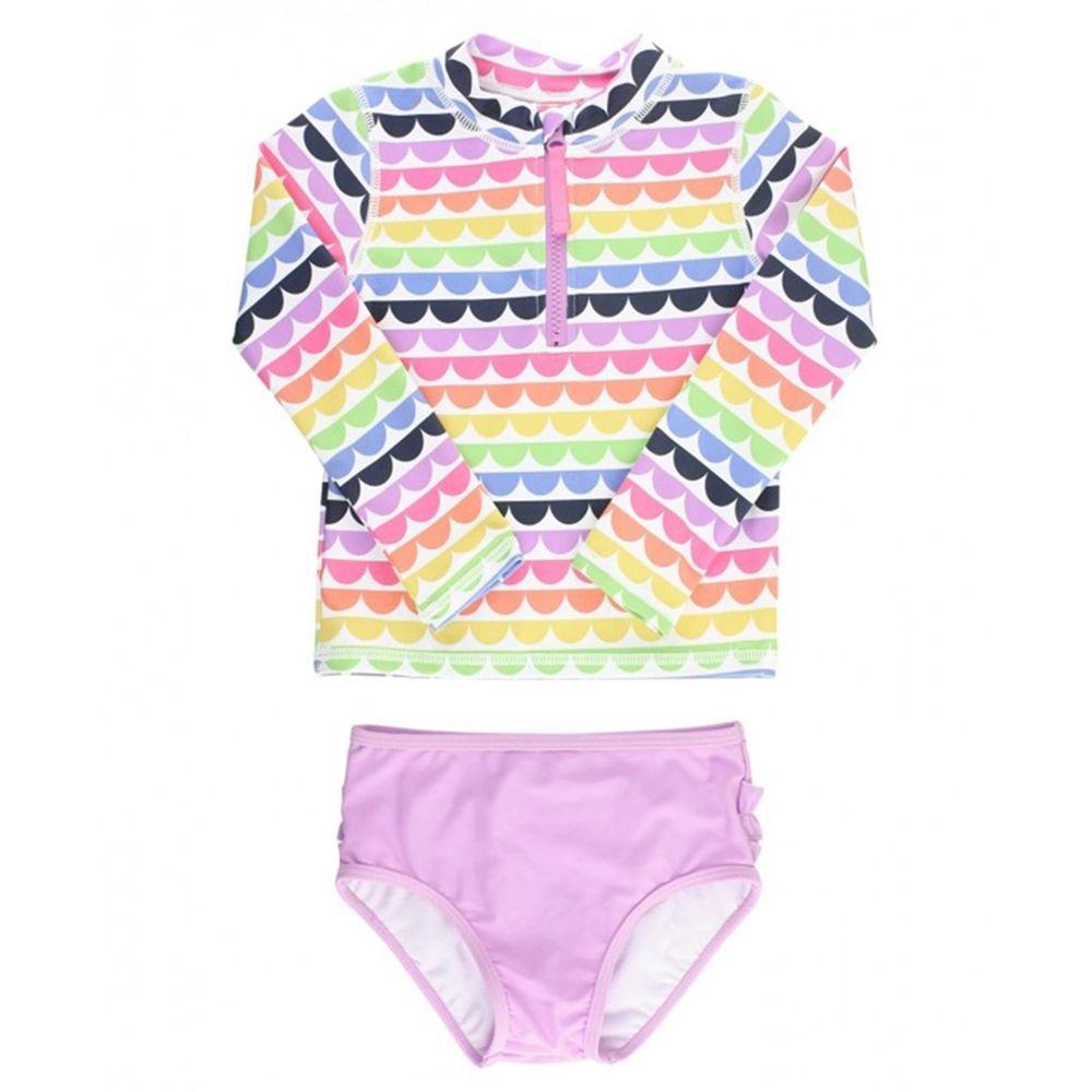 美國 RuffleButts - 小女童UPF 50+防曬兩件式長袖泳裝-七彩貝殼