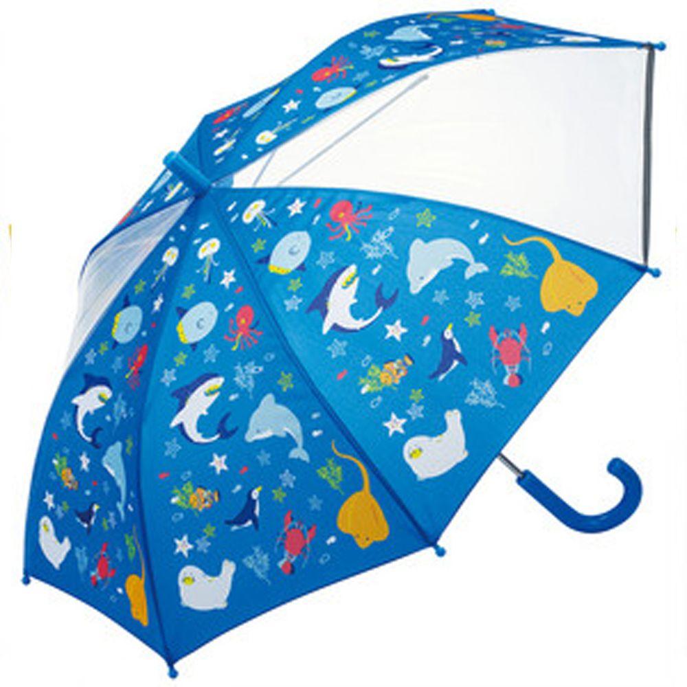 日本 SKATER 代購 - 兒童雙片透明直傘(附安全反光貼條)-海底好朋友 (50cm(身高:115-125cm))