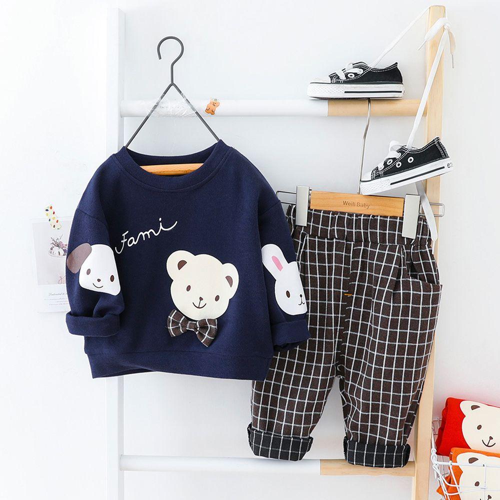 領結熊格紋褲套裝-上衣+褲子-藏藍