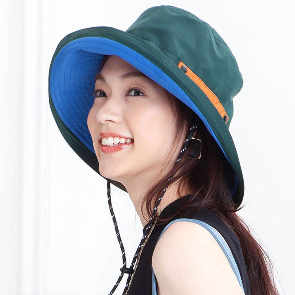 日本服飾代購 - 【irodori】抗UV可捲收防潑水遮陽帽(附防風帽帶)-綠X藍內裏