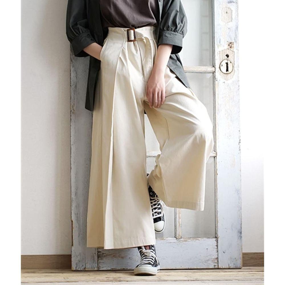 日本 zootie - 純棉率性設計感打褶腰帶寬褲-米