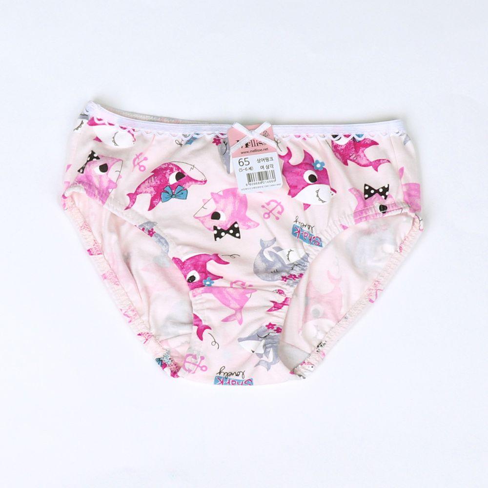 韓國 Mellisse - 純棉三角褲(女寶)-粉紅鯊魚