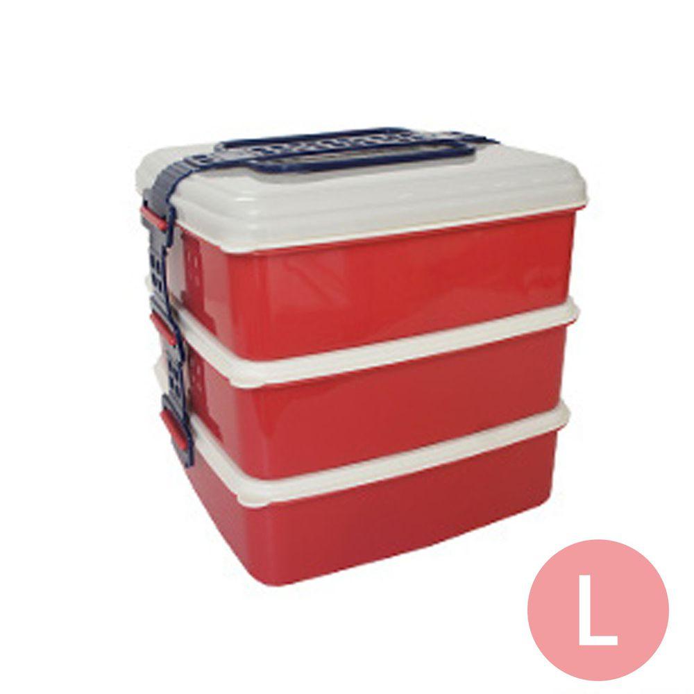 日本Bisque - 3層野餐便當盒-L-紅色