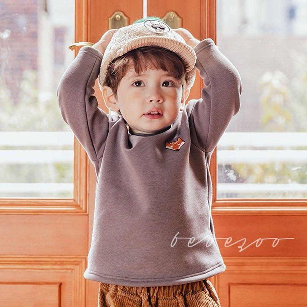 韓國 Bebezoo - 刺繡小動物棉T-灰