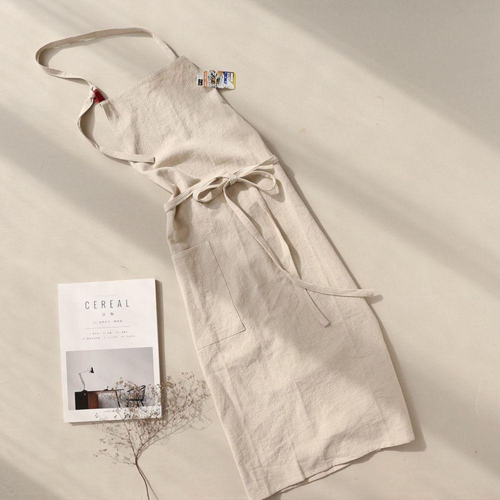 前繫帶純色棉麻圍裙-優雅米色