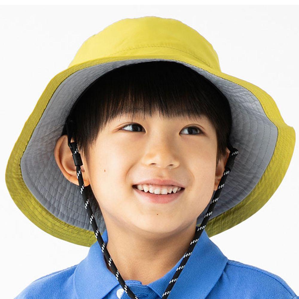 日本 irodori - 【irodori】抗UV可捲收防潑水遮陽帽(附防風帽帶)-兒童款-萊姆黃X灰內裏 (54cm)
