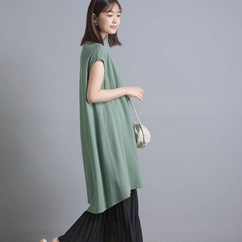 日本 OMNES - 接觸冷感 修身設計一分袖洋裝-綠