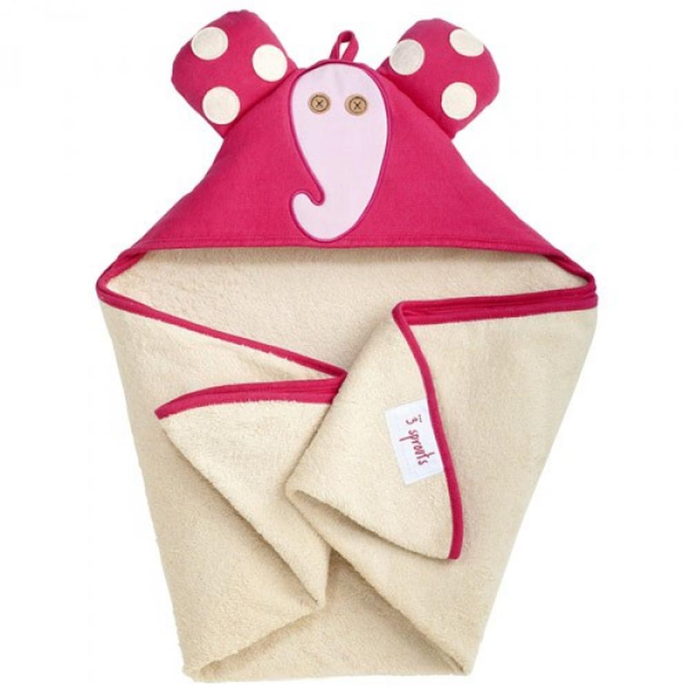 加拿大 3 Sprouts - 連帽浴巾-粉紅象
