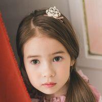 皇冠蝴蝶結髮夾-粉紅 X 1