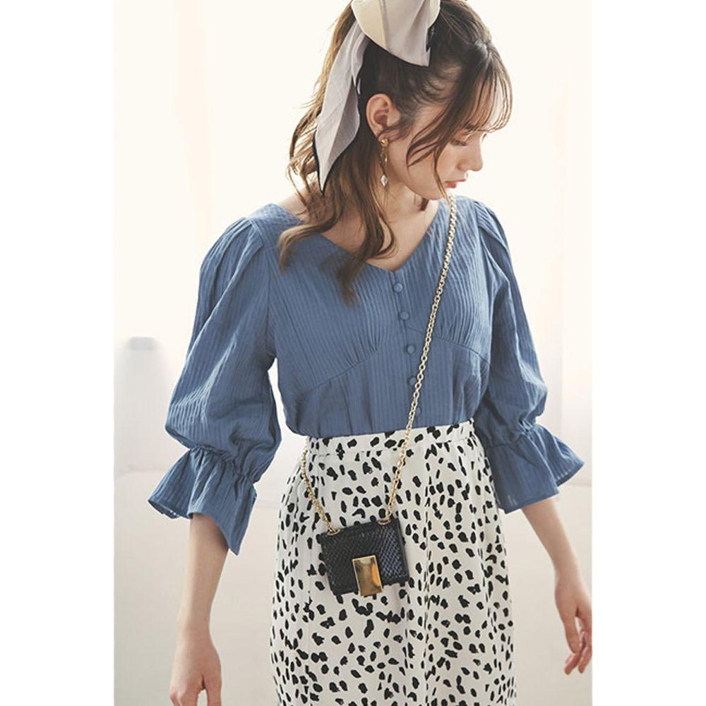日本 GRL - V領排釦立體羅紋糖果五分袖上衣-知性藍
