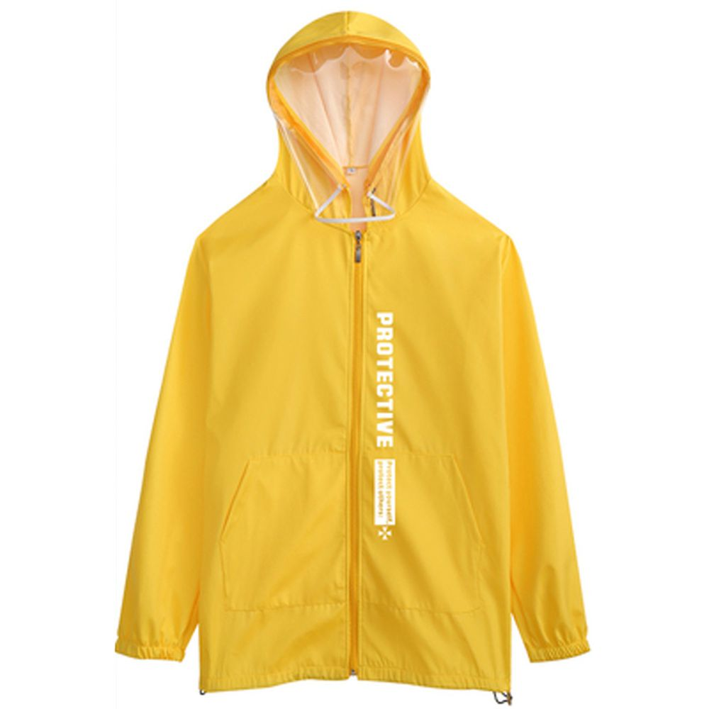 防飛沫連帽外套-一般款-黃色印花-(非醫療用品)