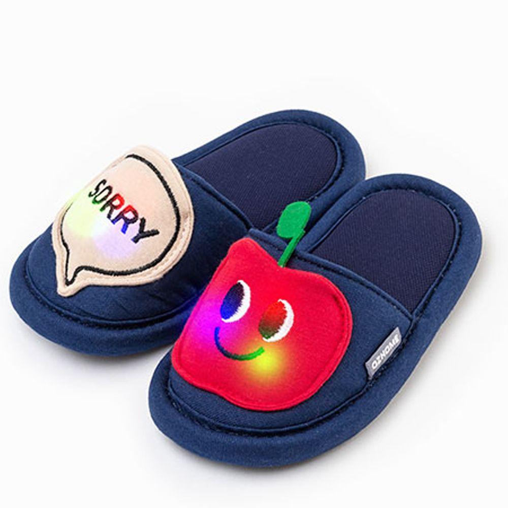 韓國 OZKIZ - 消音防滑室內鞋-LED閃耀蔬果款-深藍蘋果