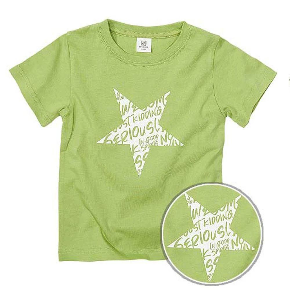 日本 devirock - 純棉 定番百搭印花短T-英文星星-綠