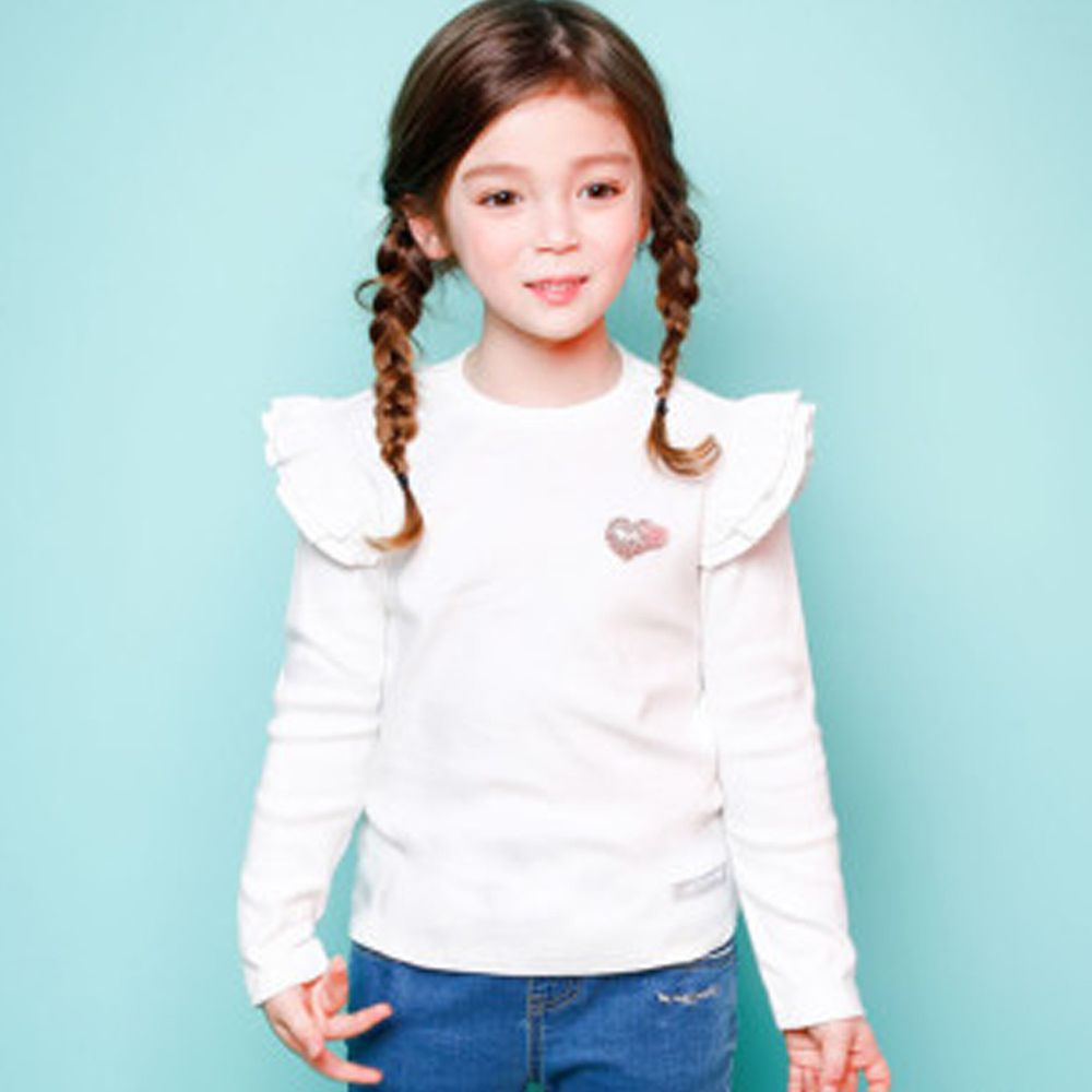 韓國 Jelispoon - 雙層荷葉袖上衣-白