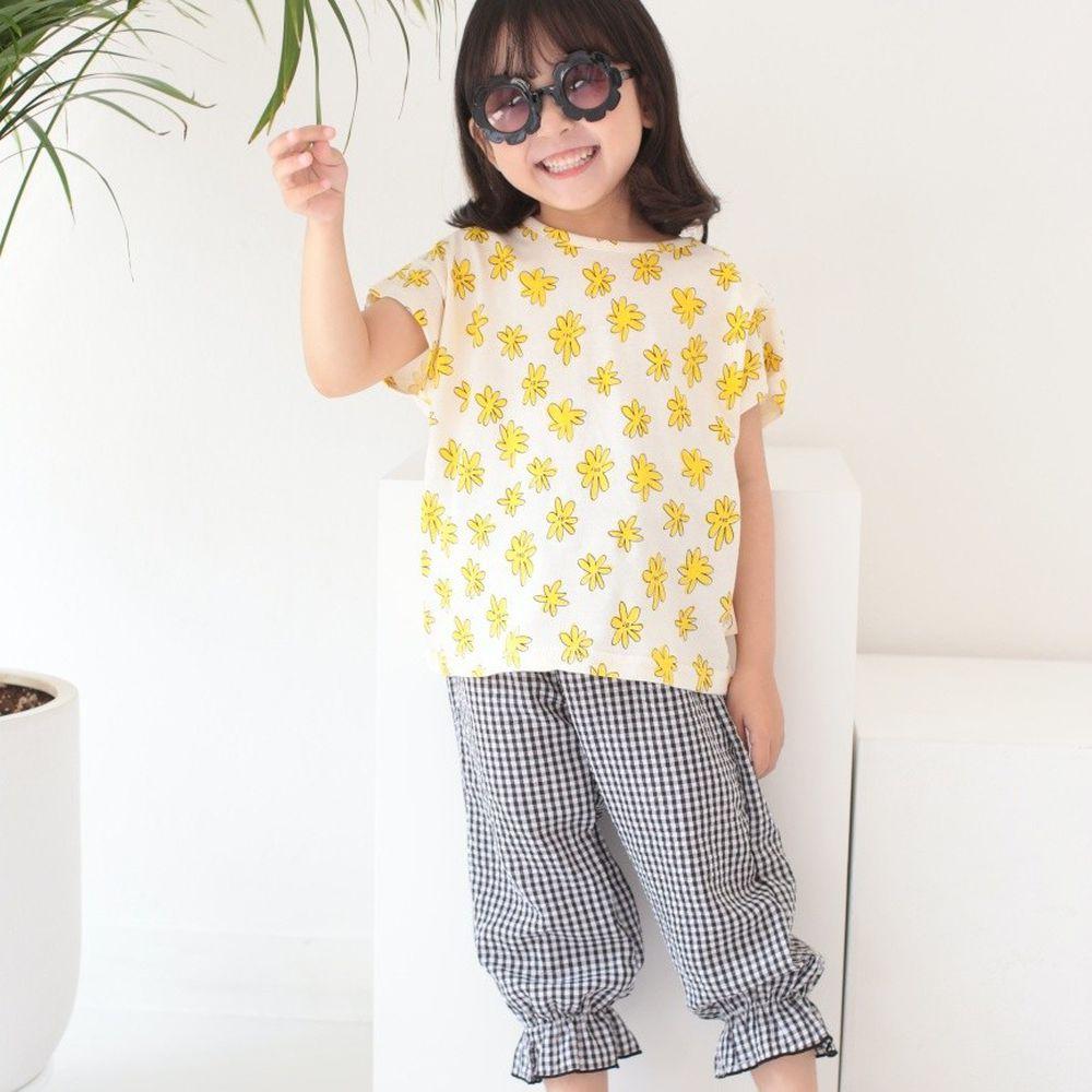 韓國 Dalla - 童趣圖案格子套裝-花花黃